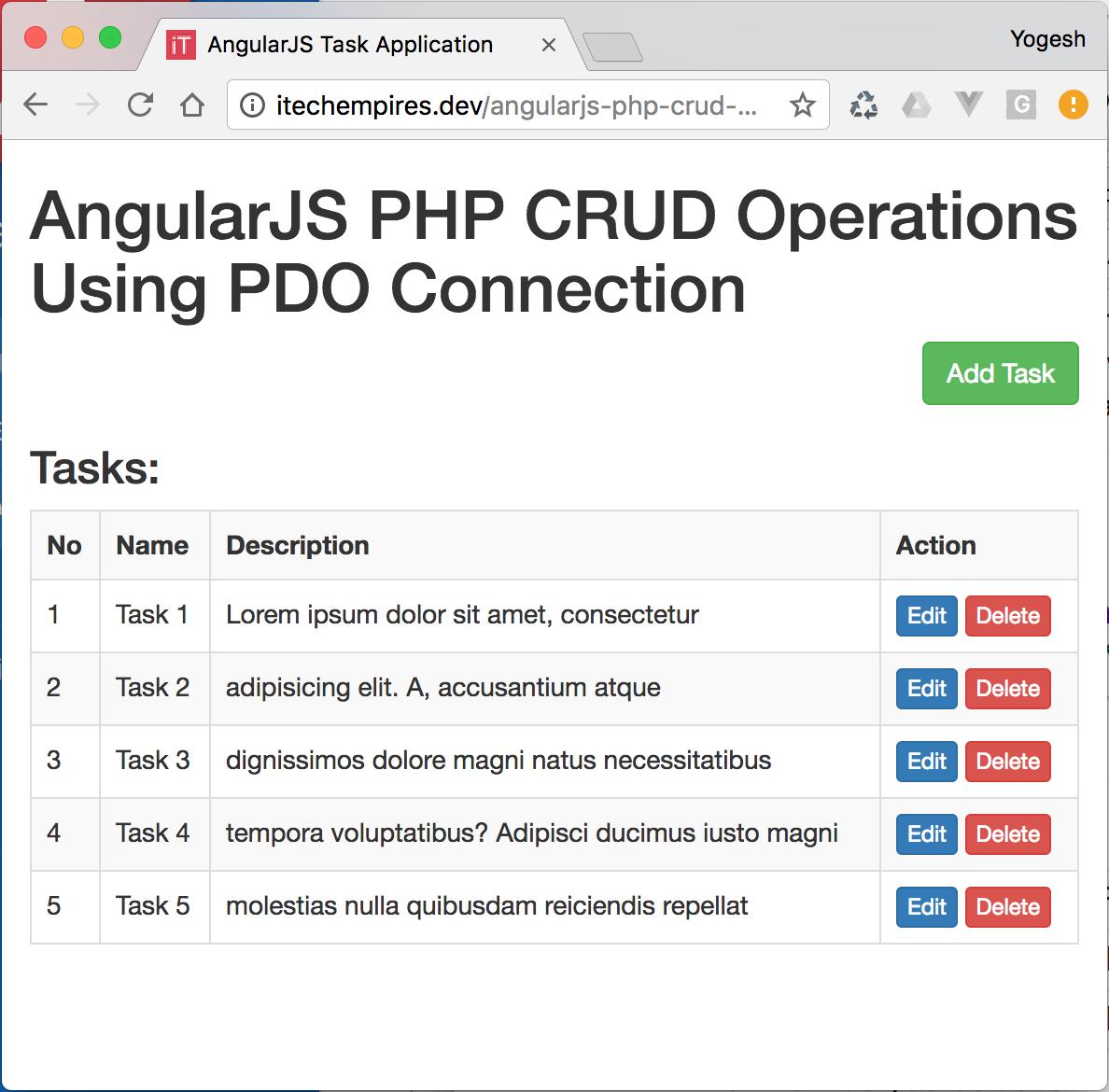 AngularJS PHP CRUD (Create, Read, Update, Delete) Operations