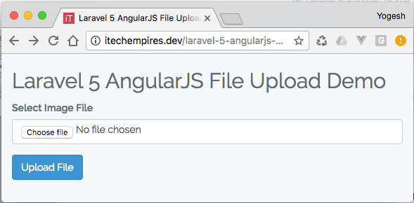 Laravel 5 AngularJS File Upload tutorial Default screen