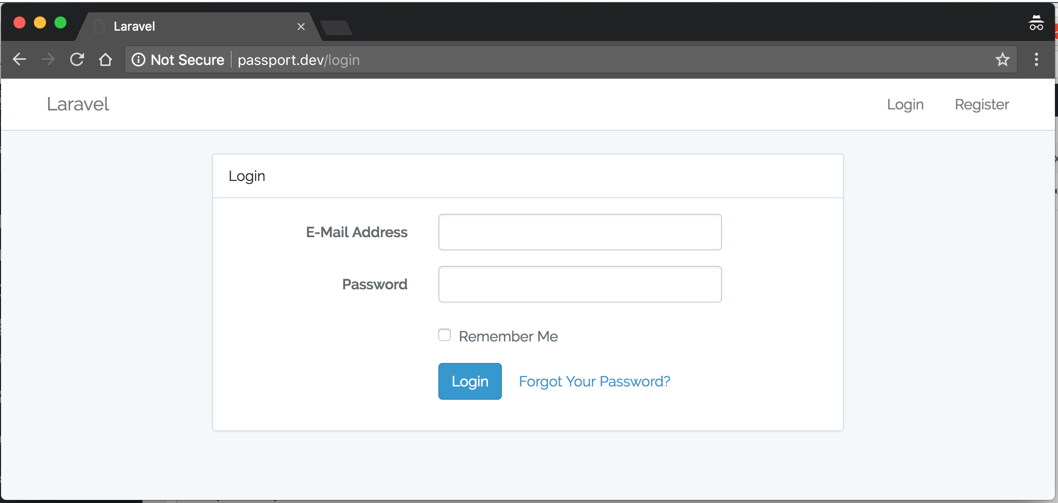 Authorization Login Screen
