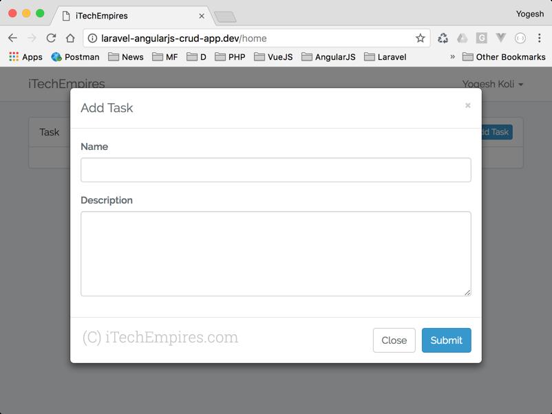 Create new task Model