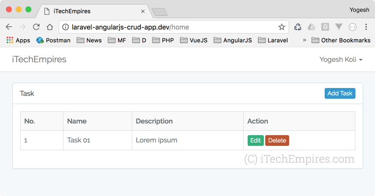 Laravel 5 5 AngularJS CRUD Operations Application - iTech