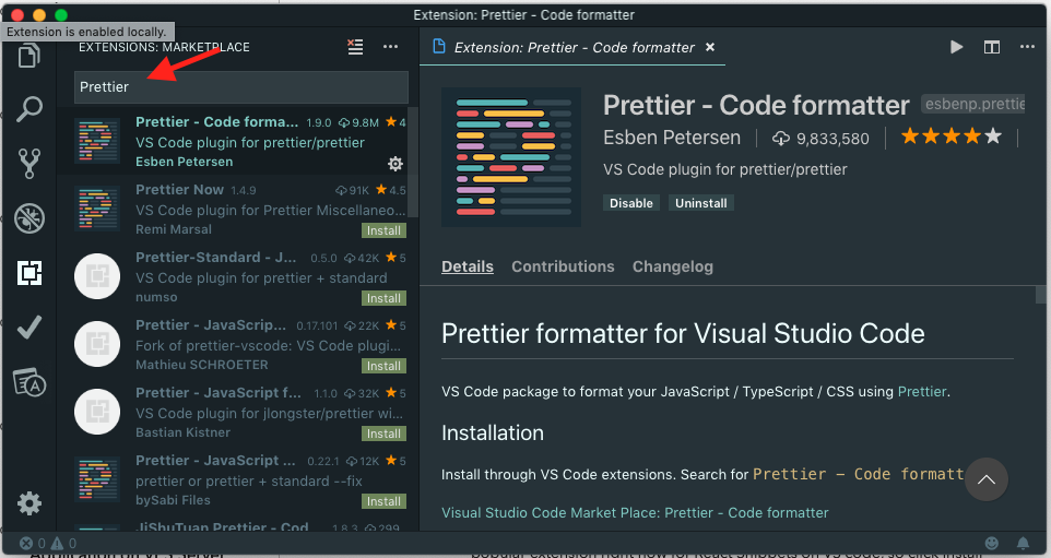 Installing Prettier Extension In VS Code