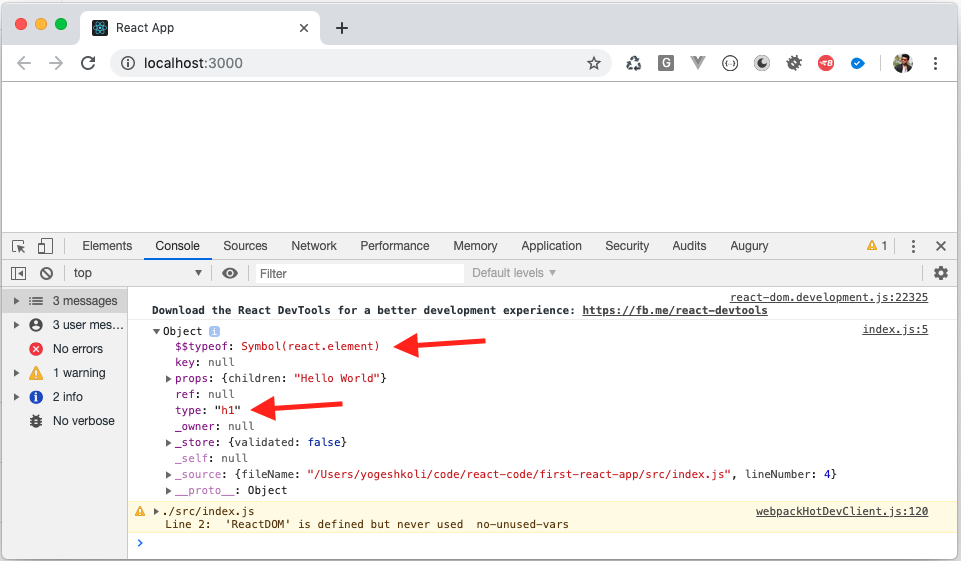 The Browser Console with Object Showing empty