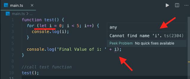 Showing compilation error in typescript